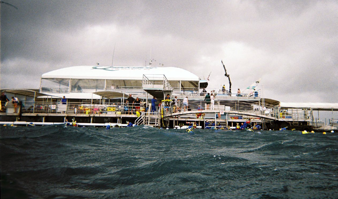 Front view of Quicksilver pontoon Agincourt Reef